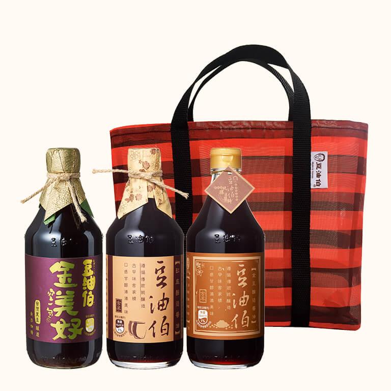 【復古提袋組】缸底醬油1入+金美好醬油1入+金豆醬油1入(共3入)送復古袋1個(紅黑袋)