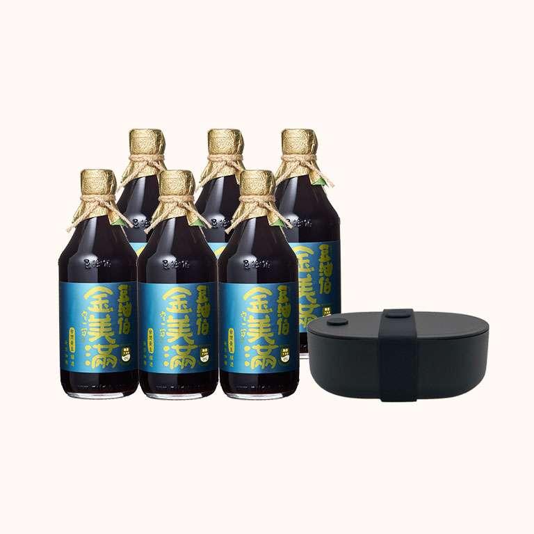 【限量組合】金美滿醬油500ml x6  送源源鋼藝 Bendong Light 便當盒(黑)