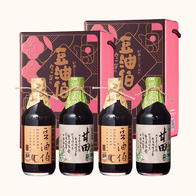 缸底醬油2入+甘田醬油2入(窗花禮盒2組,共4入)(不挑色)