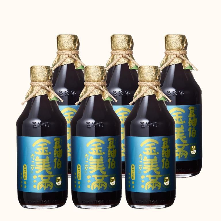 【柔媽咪推薦】豆油伯金美滿無添加糖釀造醬油500ml(黃豆醬油)(6入)