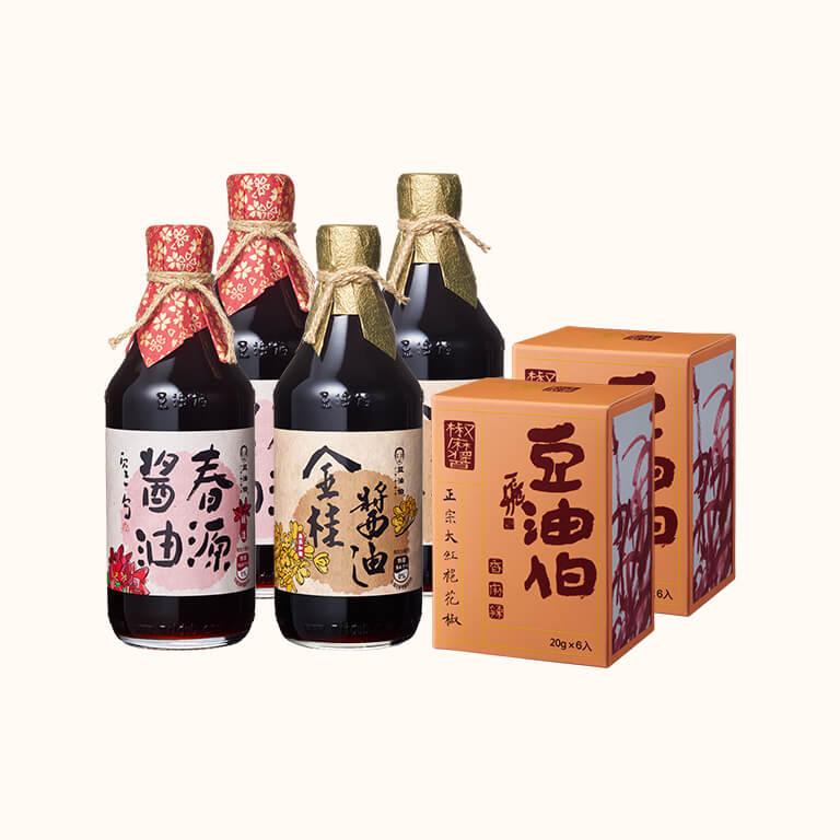 【歡慶1212】金桂無加糖小黑豆醬油*2+春源黑豆醬油*2(500ml)送椒麻盒醬包*2盒