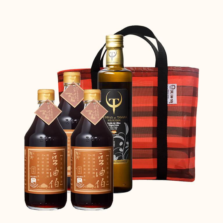 金豆醬油3入+賽古拉橄欖油1入(共4入),送復古袋*1(不挑色)