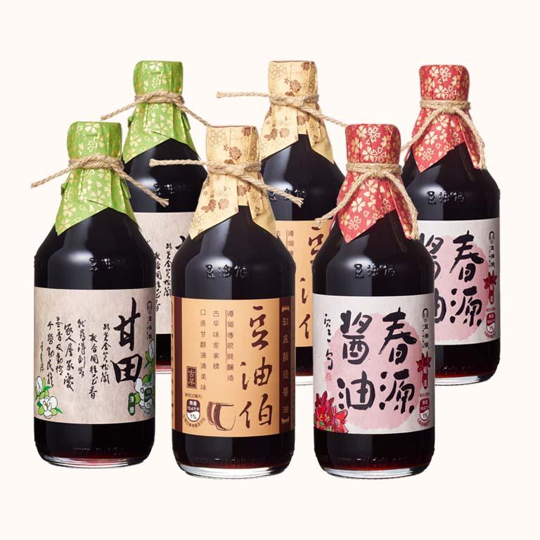 缸底醬油2入+甘田醬油2入+春源醬油2入(共6入)