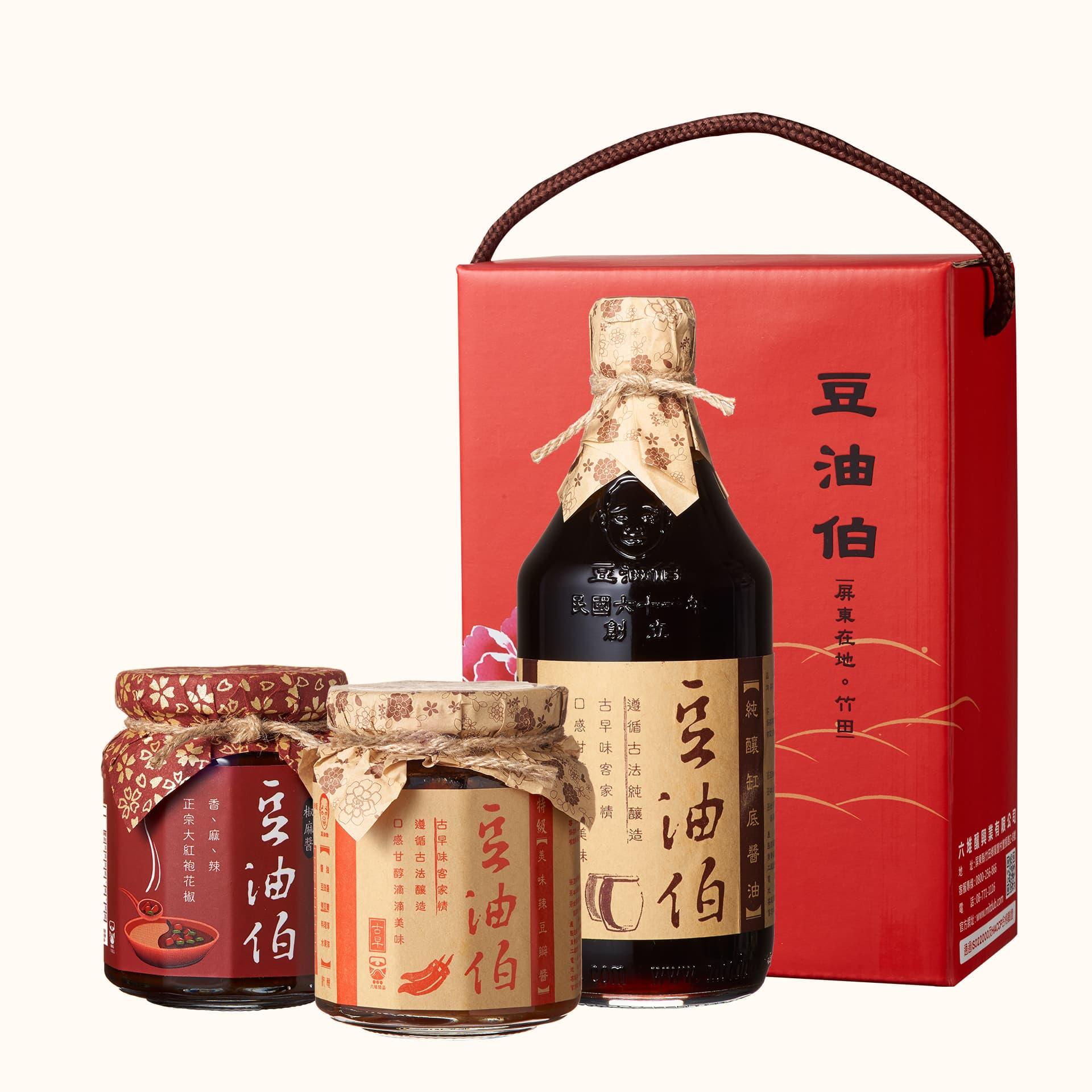 缸底醬油1入+椒麻醬1入+辣豆瓣醬1入(禮盒1組,共3入)