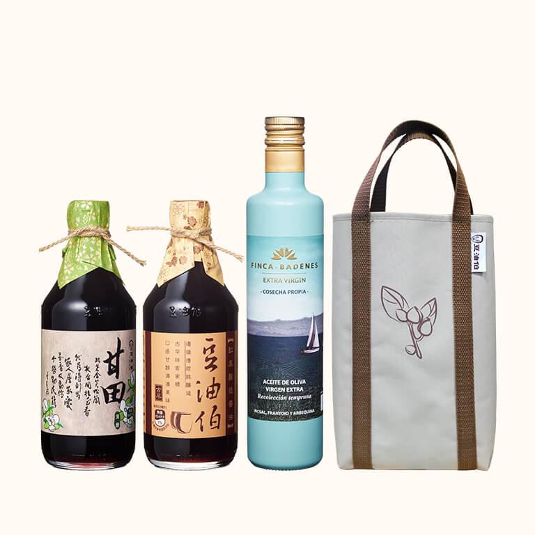 【歡慶1212】巴狄尼絲橄欖油1入+甘田醬油1入+缸底醬油1入(共3入)送提袋