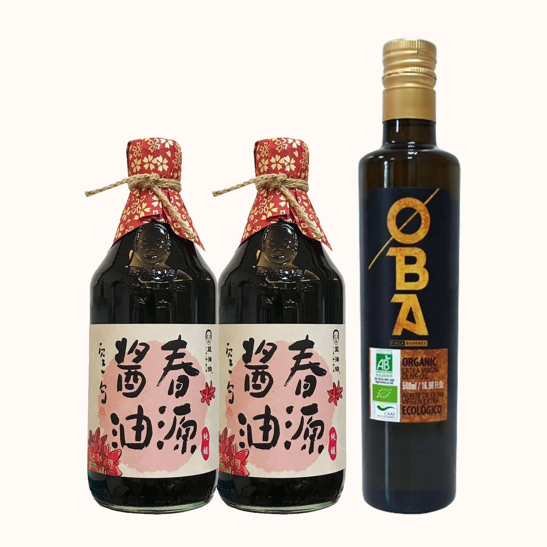 OBA有機橄欖油1入+春源醬油2入(共3入)
