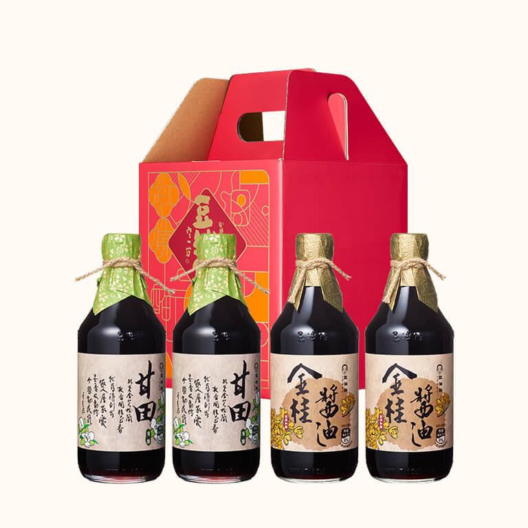 【中秋禮盒】金桂醬油2入+甘田醬油2入(附4入窗花禮盒)(不挑色)