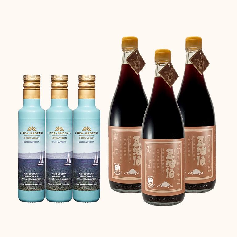 【週三限時-容量加大組】金豆醬油680ml*3入+莊園橄欖油250ml*3入(共6入)