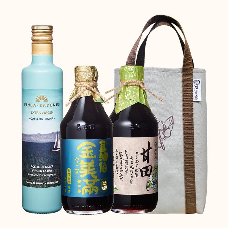 巴狄尼絲橄欖油1入+甘田醬油1入+金美滿醬油1入(共3入)送提袋
