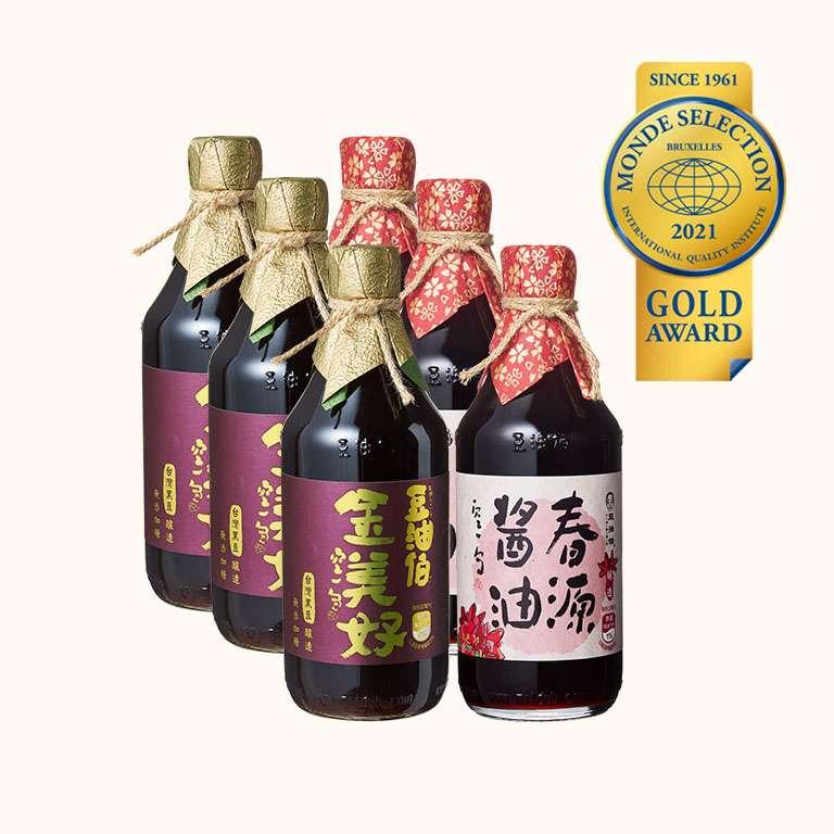 【世界評鑑金獎】金美好醬油 3入+春源醬油 3入(共6入)
