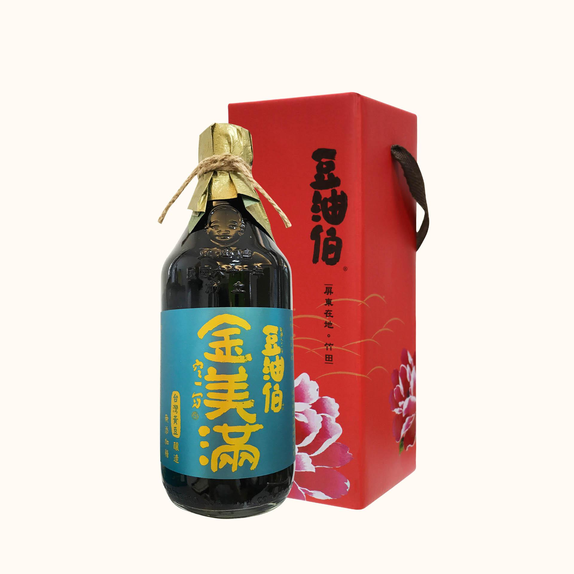 豆油伯無添加糖金美滿醬油500ml (禮盒)