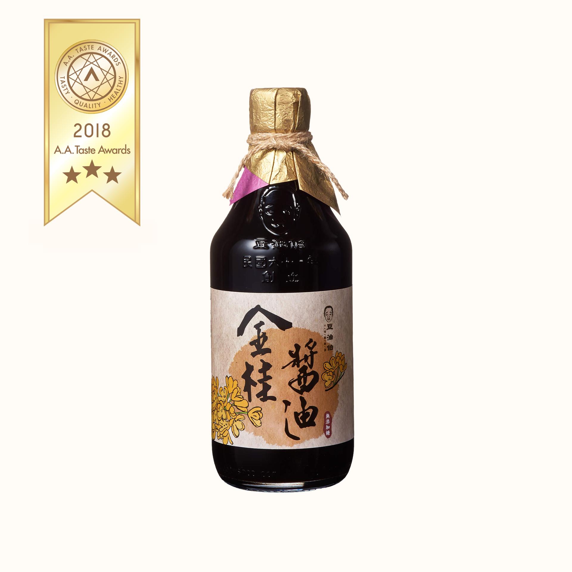 豆油伯金桂釀造醬油500ml(無添加糖黑豆醬油)