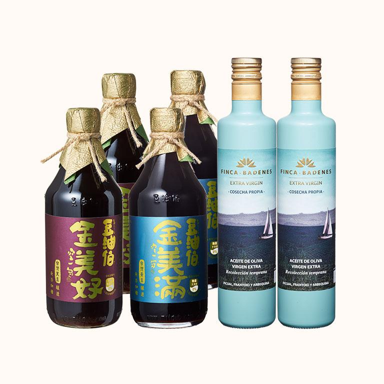 【小林郭郭推薦】金美好黑豆醬油2瓶+金美滿黃豆醬油2瓶+橄欖油2瓶,1組共6入