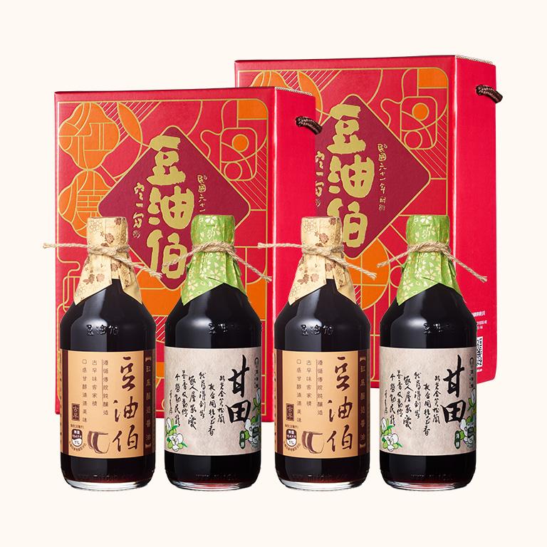 【中秋禮盒】缸底醬油2入+甘田醬油2入(窗花禮盒2組,共4入)(不挑色)