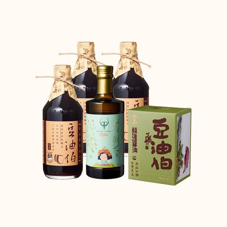 【歡慶1212】缸底醬油3入+Lulus橄欖油500ml1入+金美好盒醬包*1盒