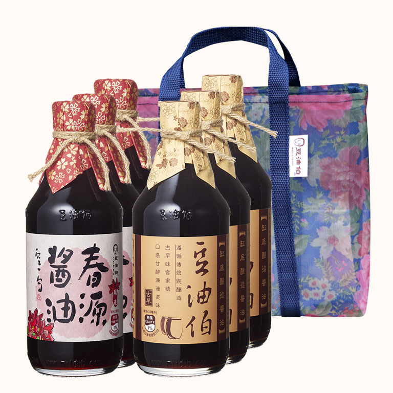 【中秋禮盒】春源醬油3入+缸底醬油3入(共6入)送復古花袋2個(不挑色)