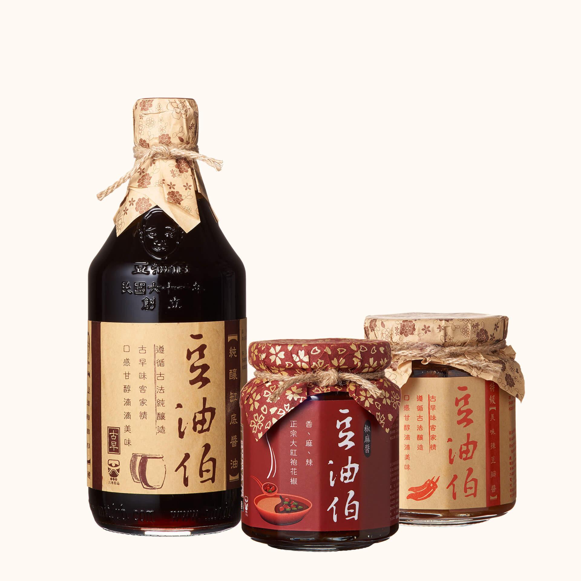 【新客限定】豆油伯缸底醬油500ml+辣豆瓣醬260g+椒麻醬280g