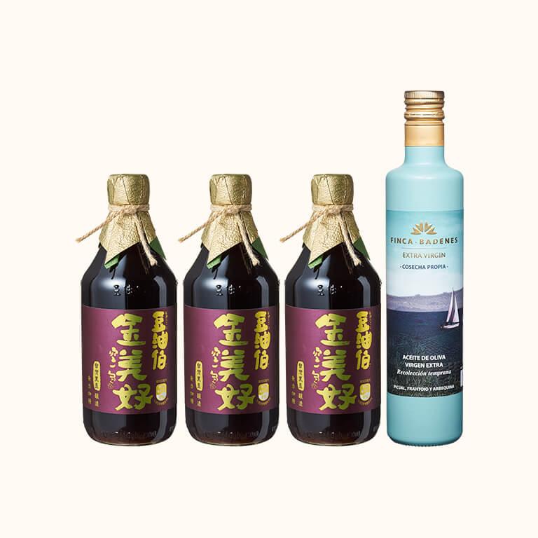 【防疫料理組】金美好無添加糖(黑豆)醬油3入+巴狄尼絲橄欖油500ml*1入(共4入)