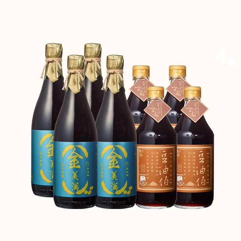 【週三限時4+4】金豆醬油4入+金美滿醬油4入(680ml)(共8入)