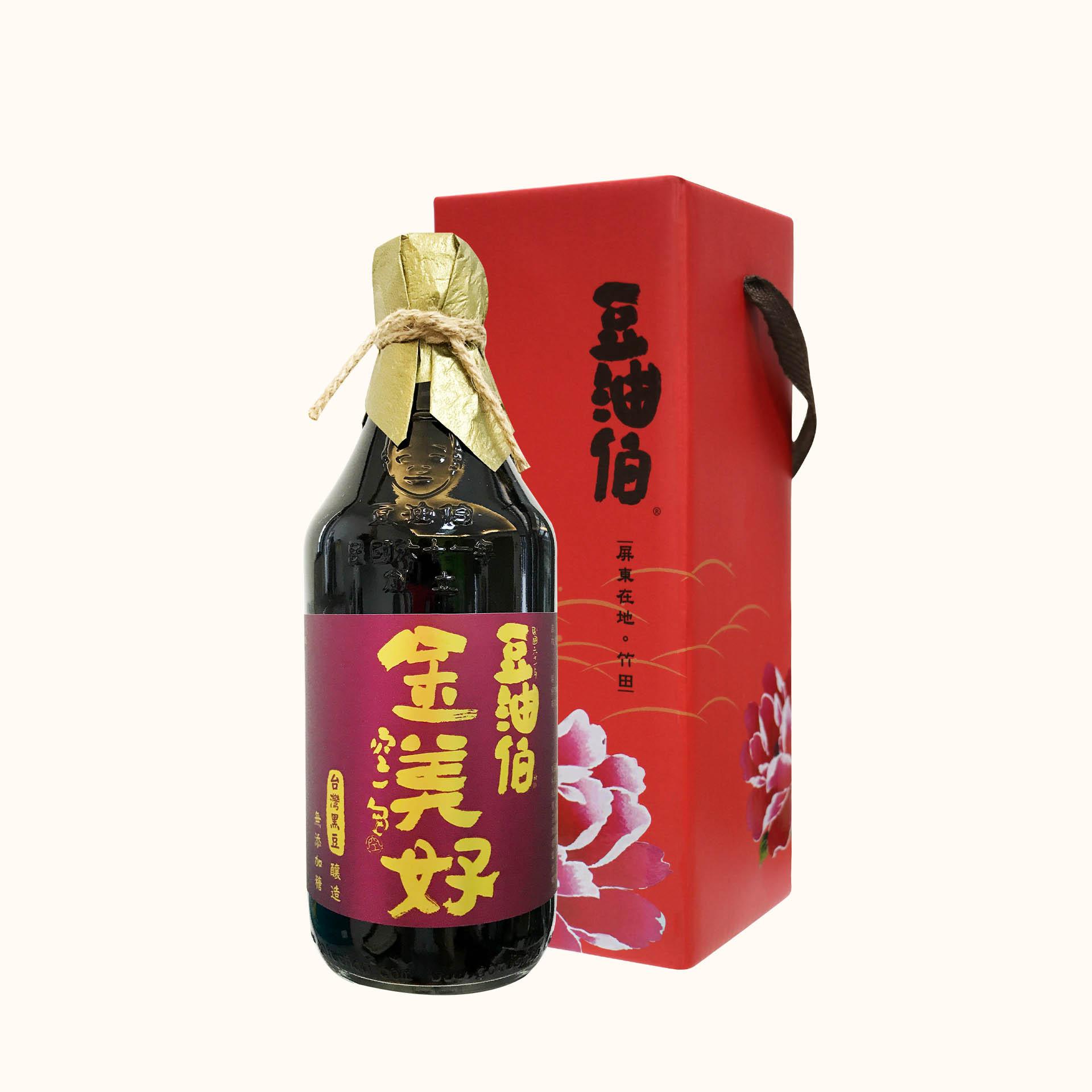 豆油伯金美好無添加糖釀造醬油500ml (黑豆醬油/禮盒)