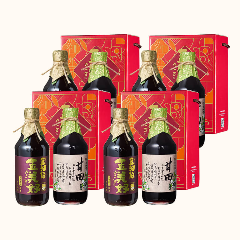 【中秋禮盒】金美好黑豆醬油+甘田薄鹽醬油500ml*4組(8入)(不挑色)
