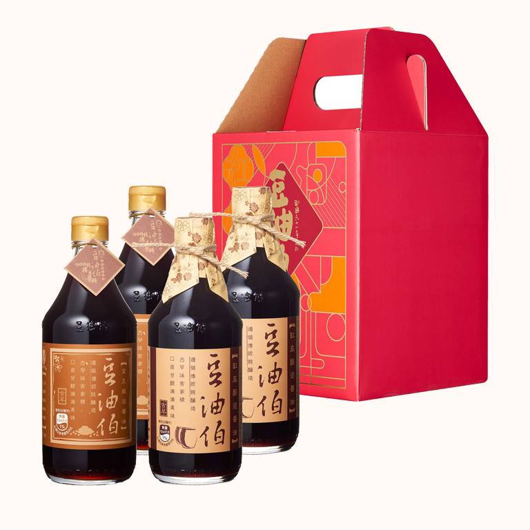 【窗花禮盒】缸底醬油2入+金豆醬油2入(禮盒1組,共4入)