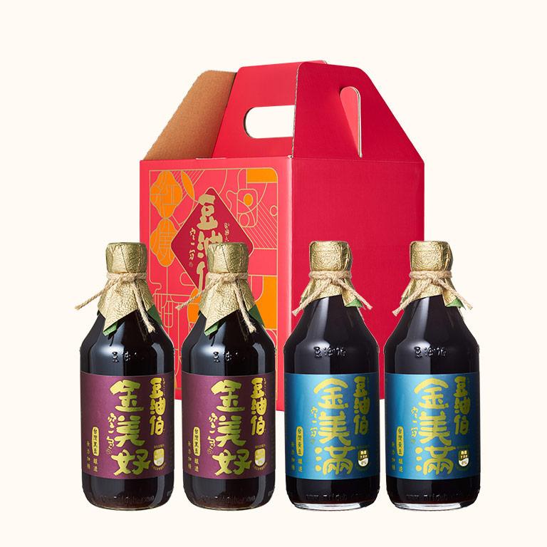 【年節禮盒】金美好醬油2入+金美滿醬油2入(禮盒1組,共4入)(不挑色)