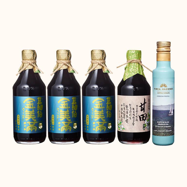 【歡慶1212】金美滿醬油3入+甘田醬油1入+巴狄尼絲橄欖油250ml(共5入)