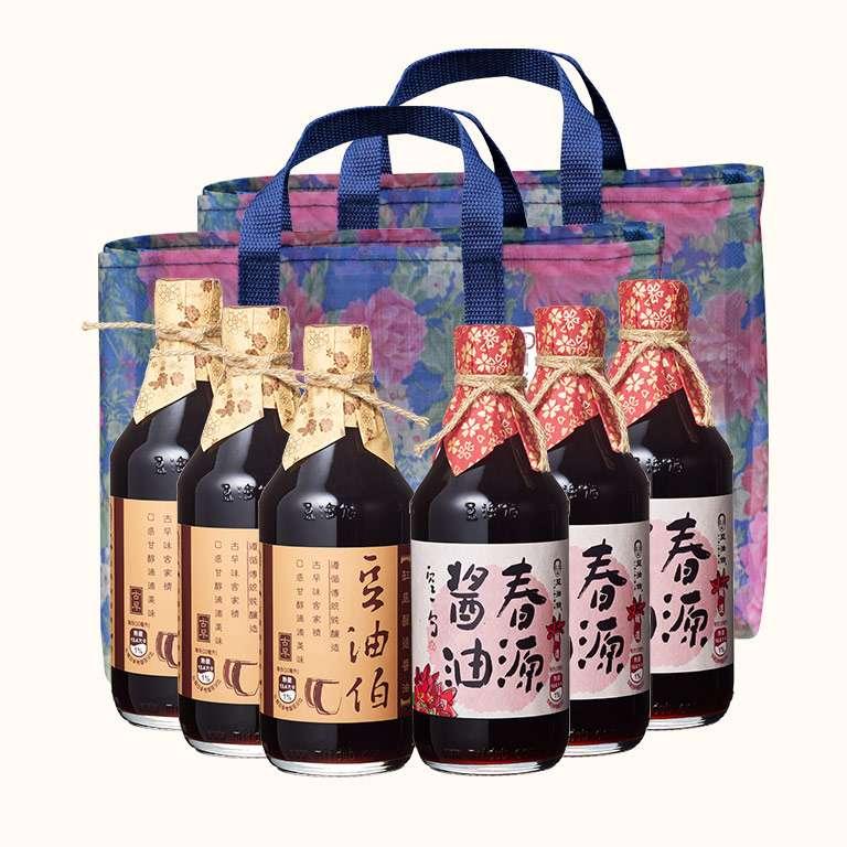 【會員日66折起】春源醬油3入+缸底醬油3入(共6入)送復古花袋2個(不挑色)