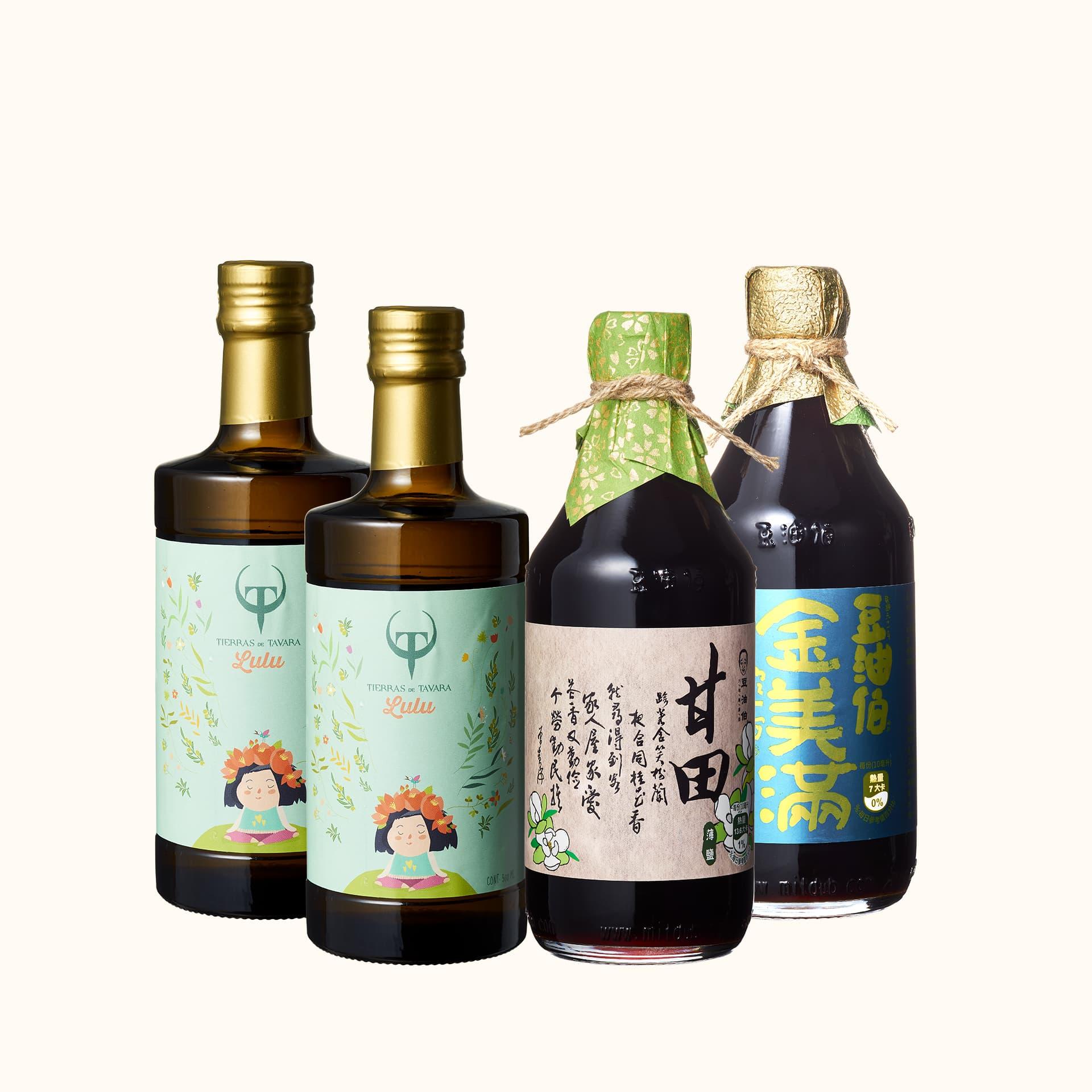 Lulus橄欖油2入+甘田醬油1入+金美滿醬油1入(共4入)