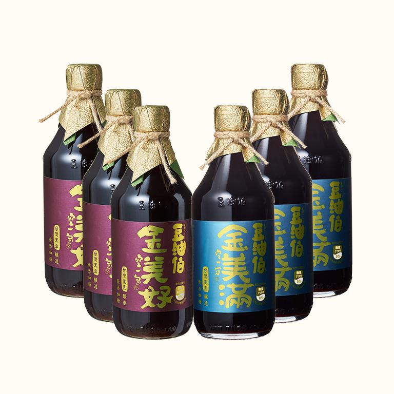 【AA無添加驗證】小林郭郭推薦 金美好(無添加糖)黑豆醬油3入+金美滿(無添加糖)黃豆醬油3入