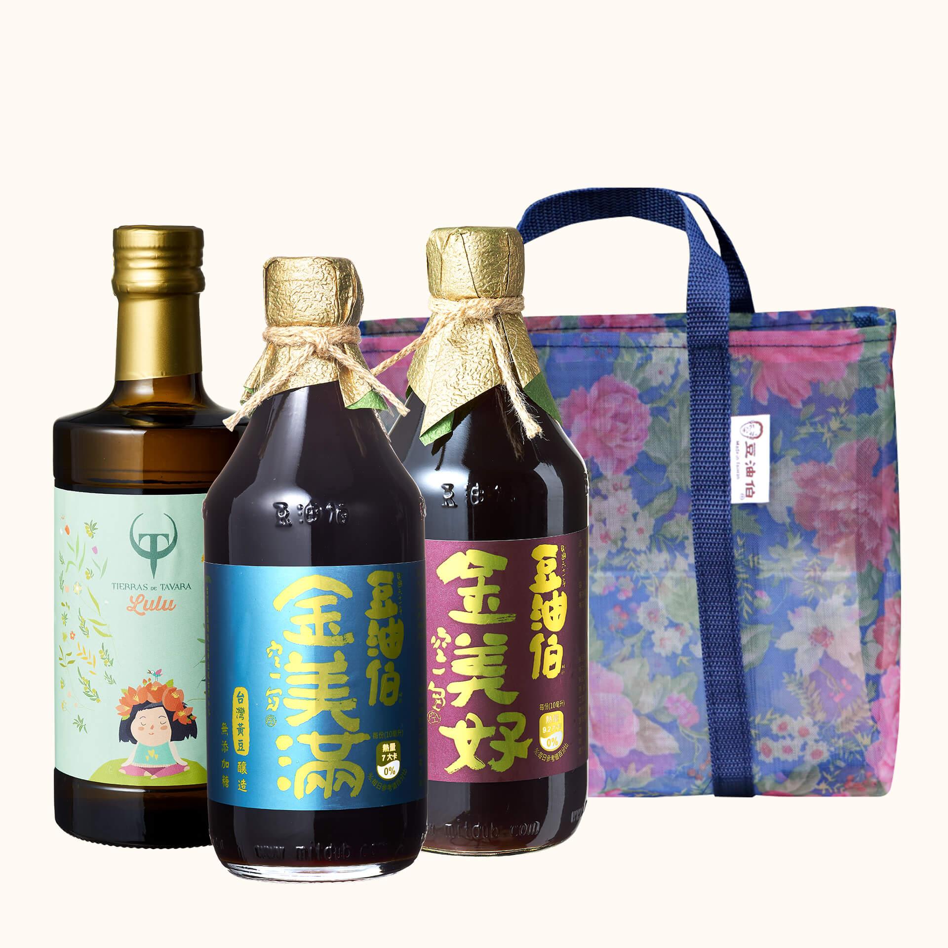 Lulu's橄欖油+金美好醬油1入+金美滿醬油1入送復古花袋(共3入)(不挑色)