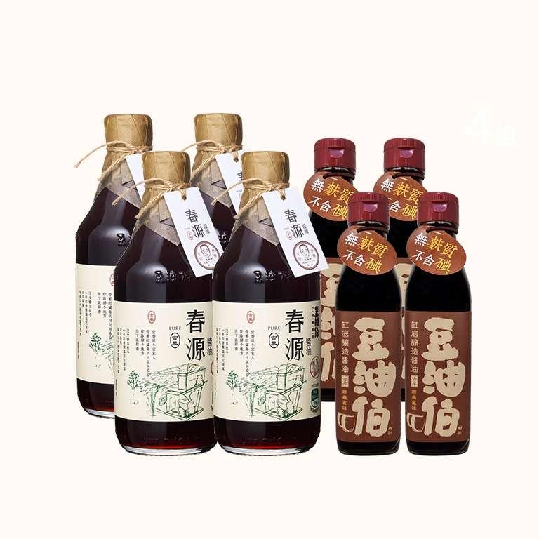 【週三限時4+4】竹田驛客春源醬油4入+缸底醬油4入(200ml)(共8入)