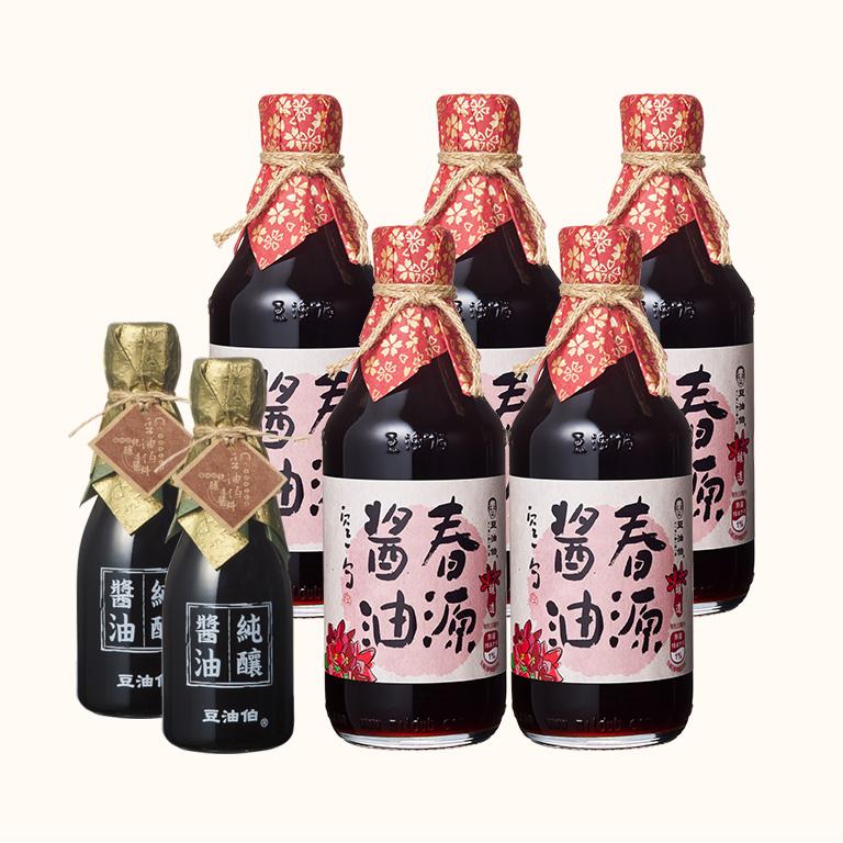 【料理推薦-醬燒雞肉】春源黑豆醬油5入送金桂醬油180ml 2入(共7入)