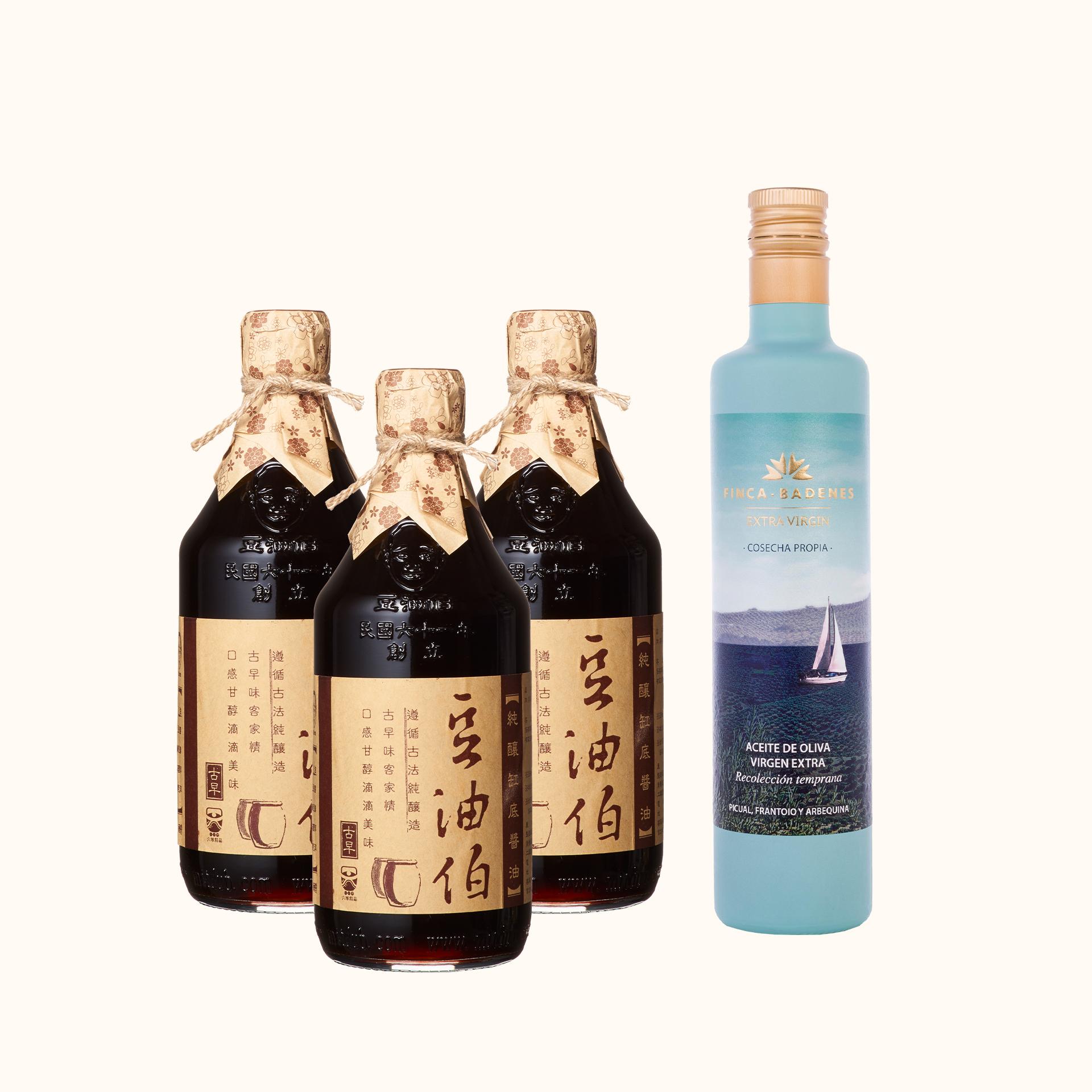 【萬聖派對69折起】缸底醬油3入+巴狄尼絲橄欖油1入(共4入)