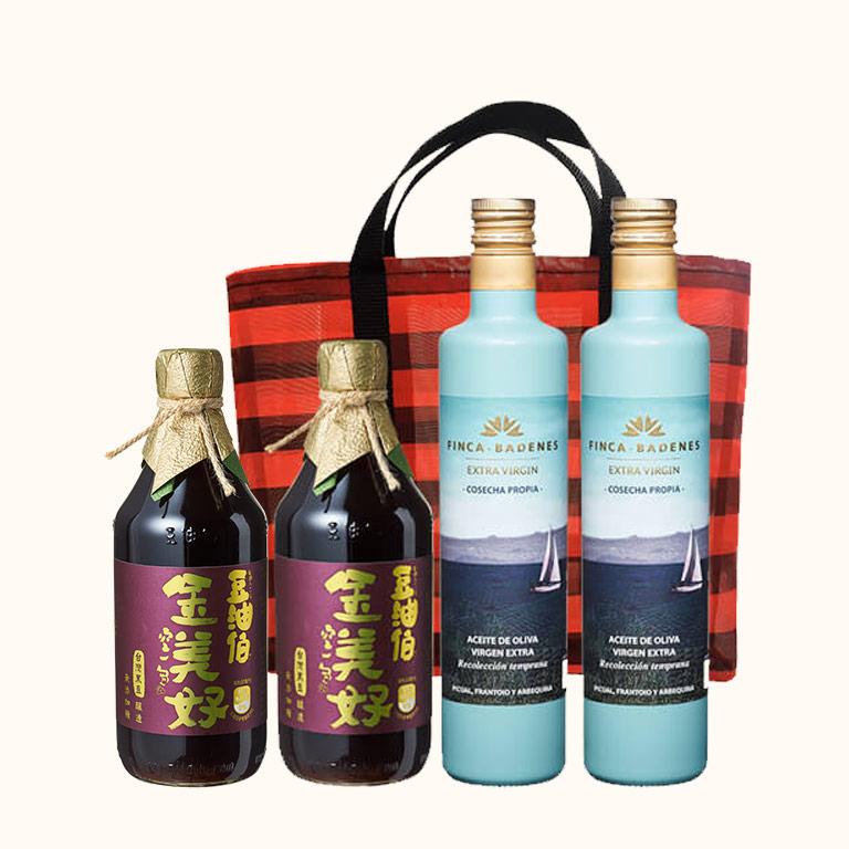 【小林郭郭推薦】巴狄尼絲橄欖油2入+金美好醬油2入(共4入)再送復古袋*1(不挑款)