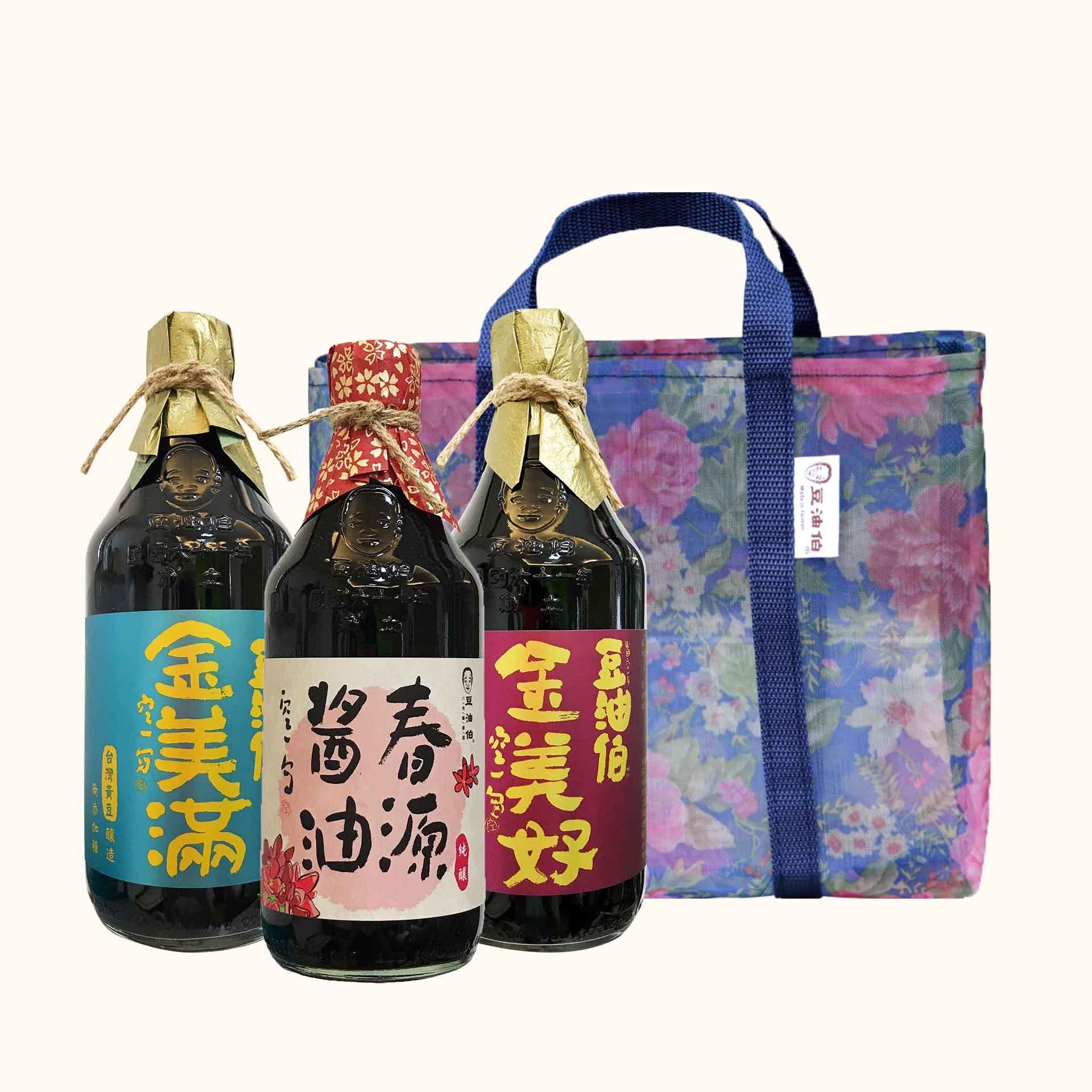 【AA無添加獎】春源醬油1入+金美好醬油1入+金美滿醬油1入(共3入)+復古花袋1入(不挑色)