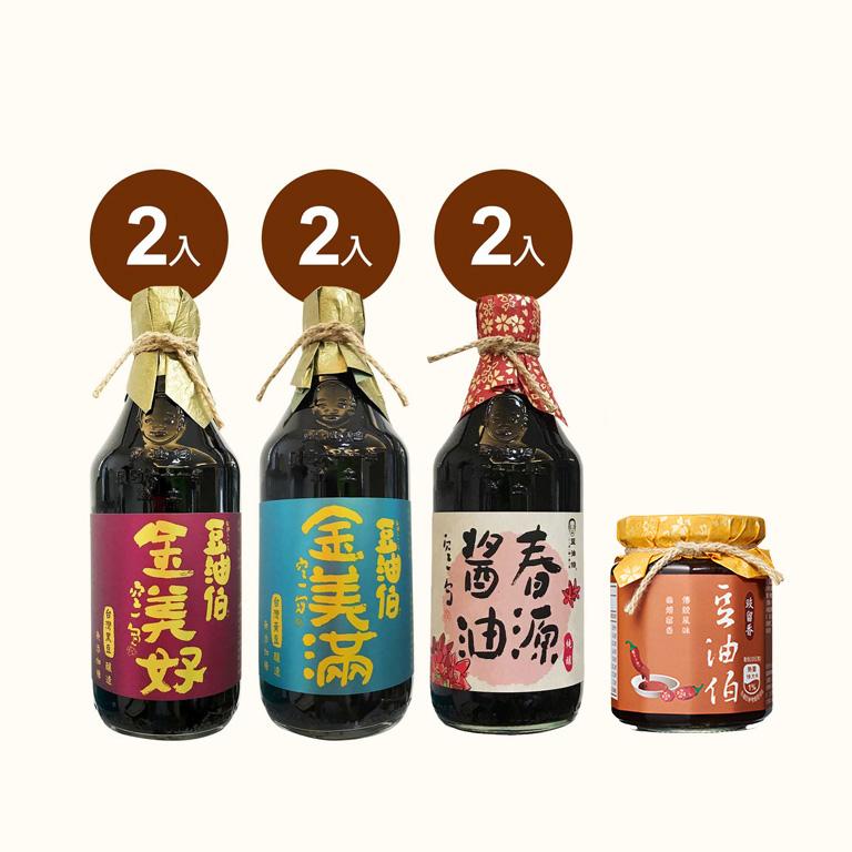 金美好醬油2入+金美滿醬油2入+春源醬油2入(共6入)送豉留香1入