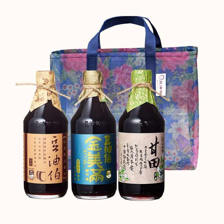 【復古花袋組】缸底醬油1入+甘田醬油1入+金美滿醬油1入(共3入)送復古花袋1個(不挑色)