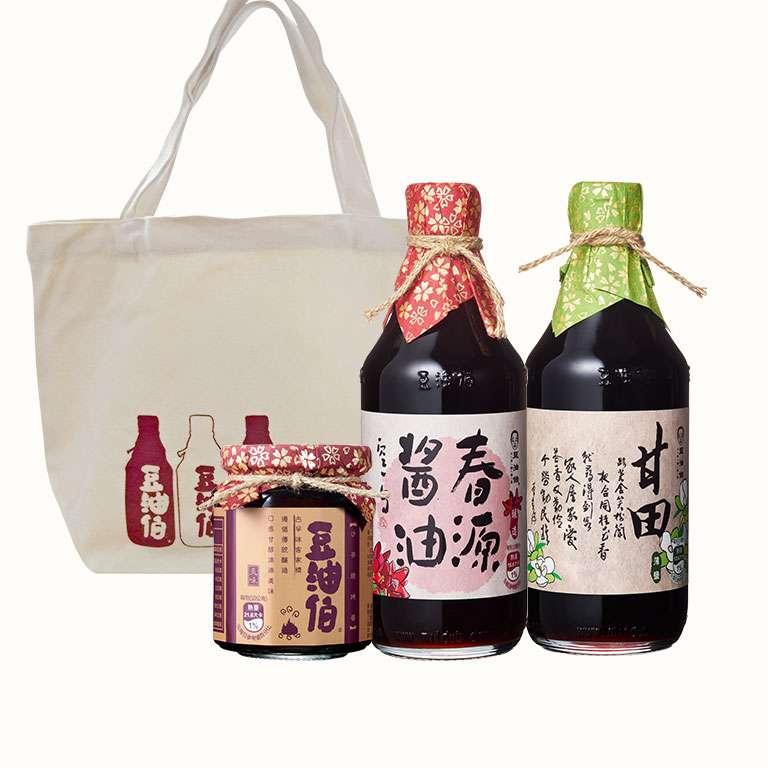 【中秋烤肉組】春源醬油1入+甘田醬油1入+沙茶燒烤醬1入,送春遊袋1個