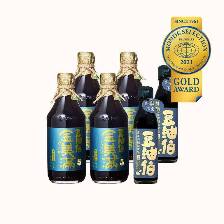 【世界評鑑金獎】金美滿釀造黃豆醬油500ml*4,送金美滿200ml 2入(共6入)