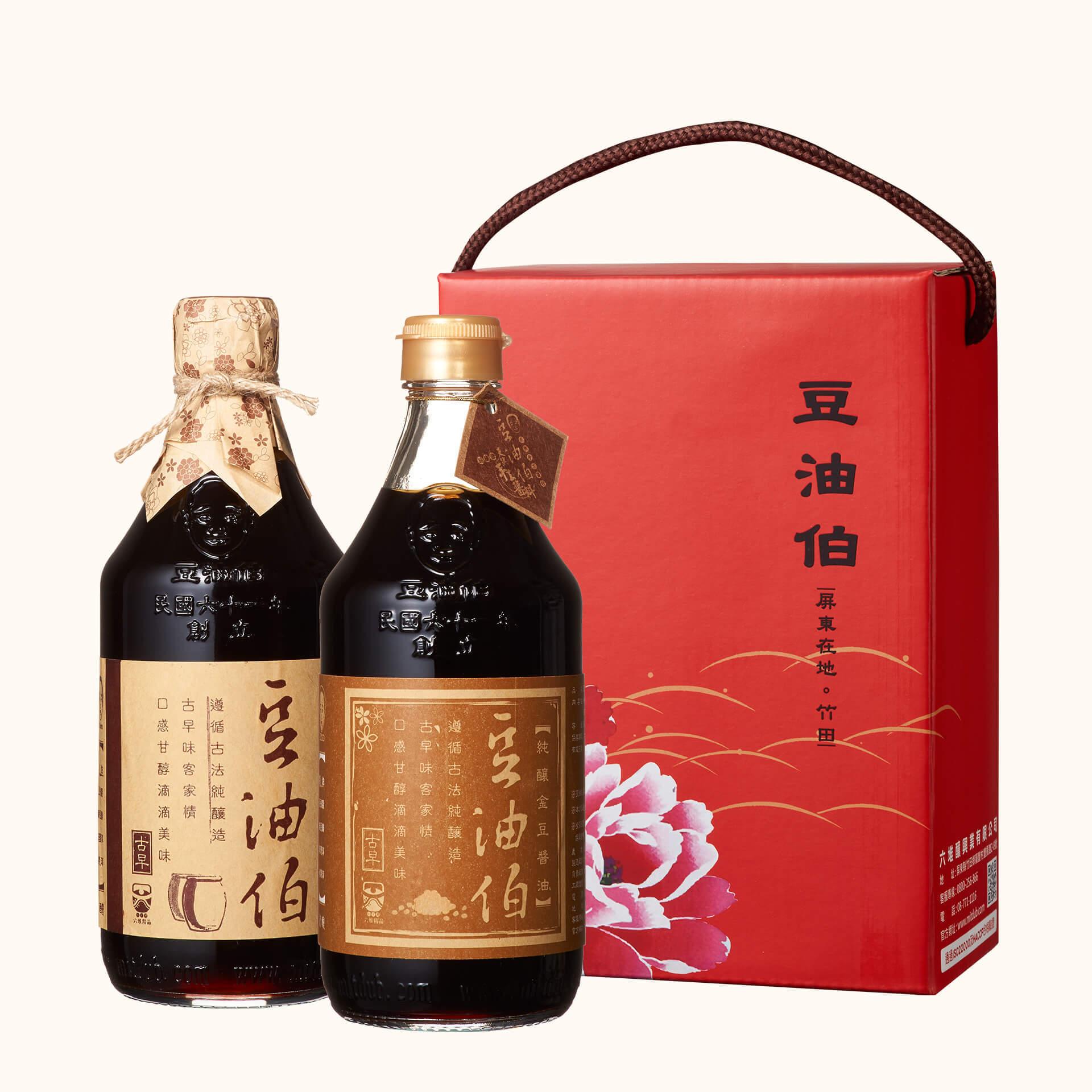 缸底醬油1入+金豆醬油1入(禮盒1組,共2入)