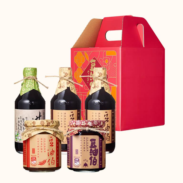 【中秋禮盒】經典醬油醬料4入禮盒(缸底醬油X2+甘田醬油+燒烤醬+辣豆瓣醬)(不挑色)
