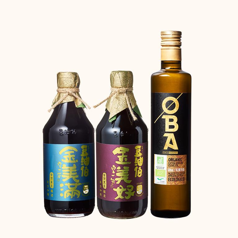 金美好醬油1入+金美滿醬油1入+OBA橄欖油1入(共3入)