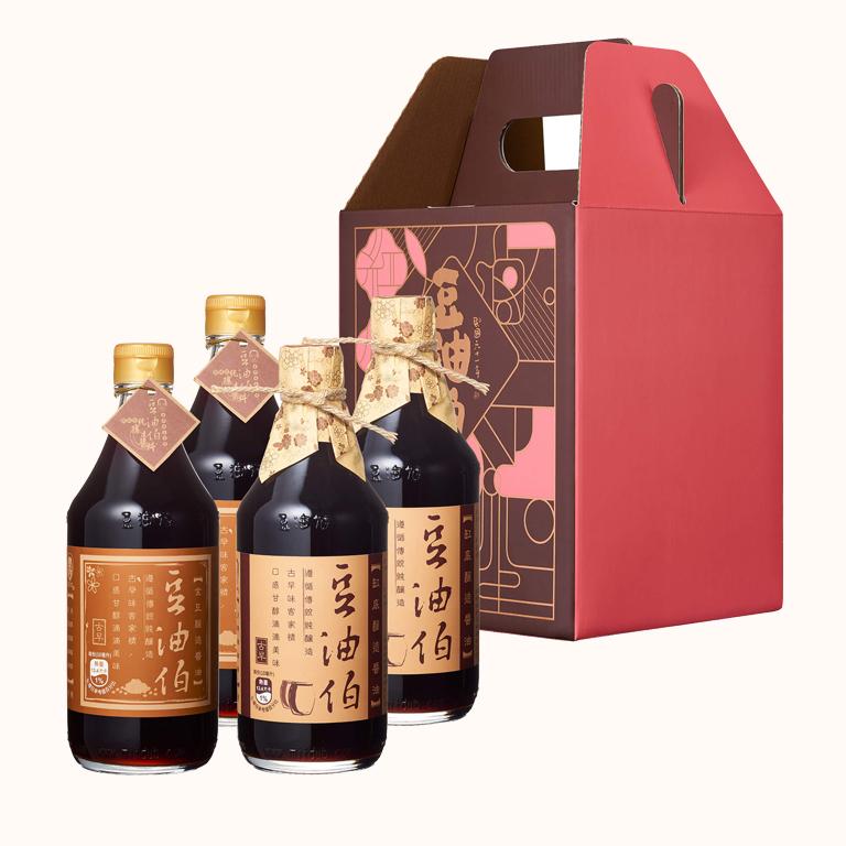 【窗花禮盒】缸底醬油2入+金豆醬油2入(禮盒1組,共4入)(不挑色)