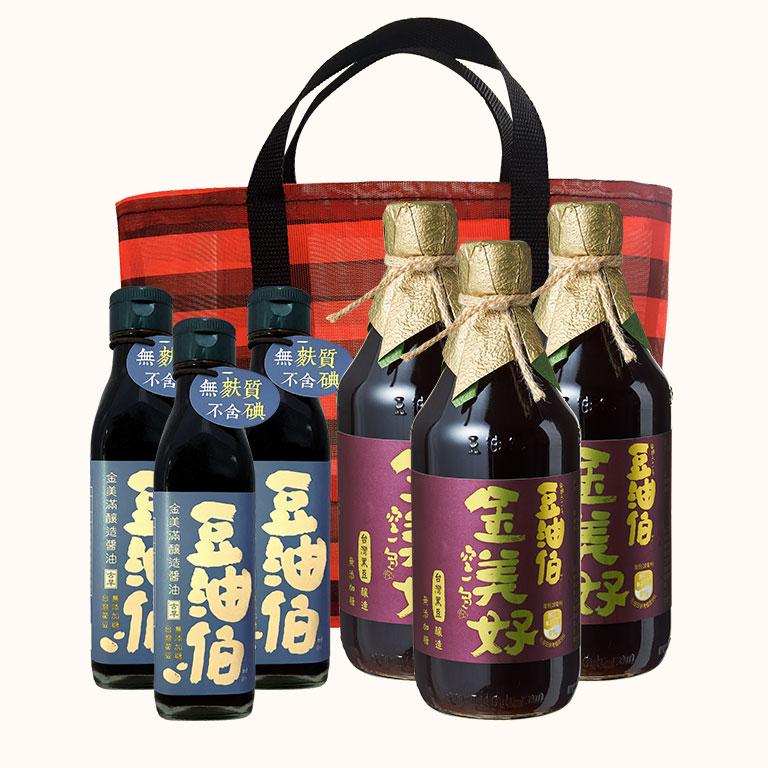 【歡慶1212】金美好醬油3入(500ml)+金美滿醬油3入(200ml)+復古袋*1(不挑款)
