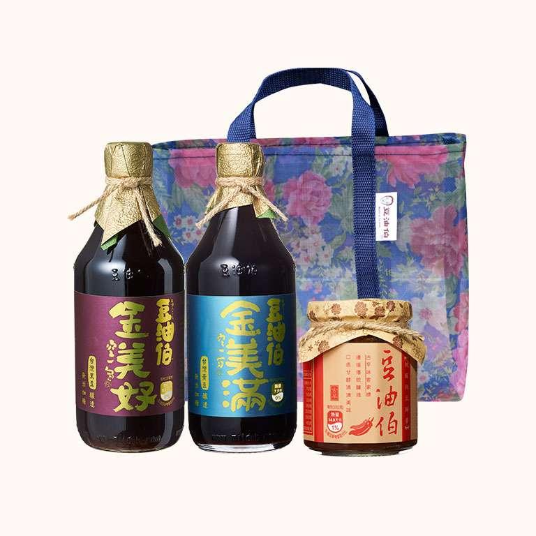 【改版慶799】金美滿醬油1入+金美好醬油 1入+辣豆瓣醬1入,送復古花袋組