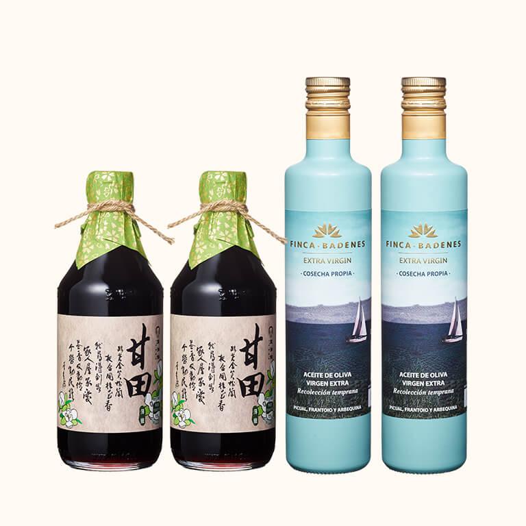 【防疫料理組】巴狄尼絲橄欖油500ml 2入,送甘田醬油500ml 2入(共4入)