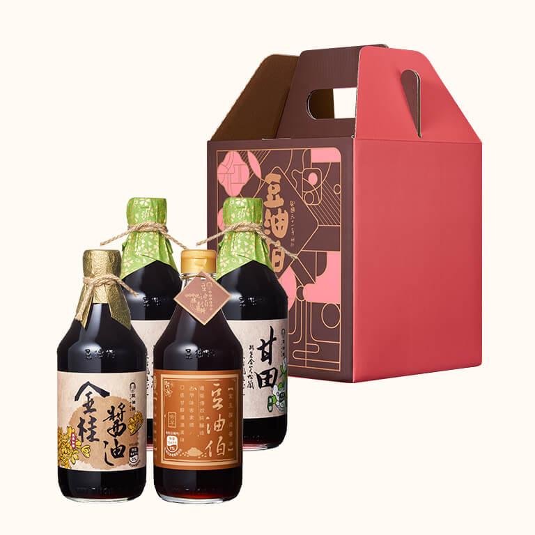 【中秋禮盒】甘田醬油2入+金桂醬油1入+金豆醬油1入(附4入窗花禮盒)(不挑色)