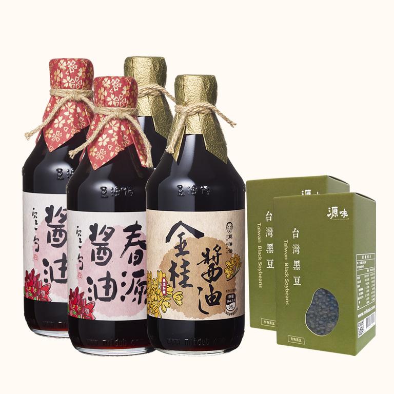【AA無添加驗證】金桂無加糖小黑豆*2+春源黑豆*2醬油500ml送有機黑豆*2盒